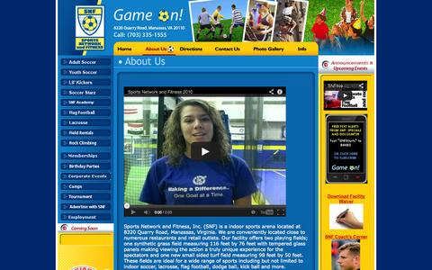 Screenshot of About Page snflive.com - About Us  - Prince William County Virginia - Local Indoor Arena Soccer Lacrosse Sports Fields - captured Oct. 6, 2014