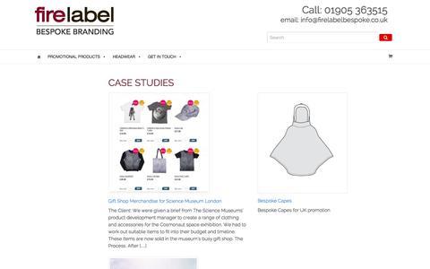 Screenshot of Case Studies Page firelabelbespoke.co.uk - Projects - Fire Label Bespoke Branding - captured Jan. 8, 2016