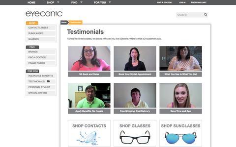 Screenshot of Testimonials Page eyeconic.com - Eyeconic | Testimonials - captured Oct. 31, 2014