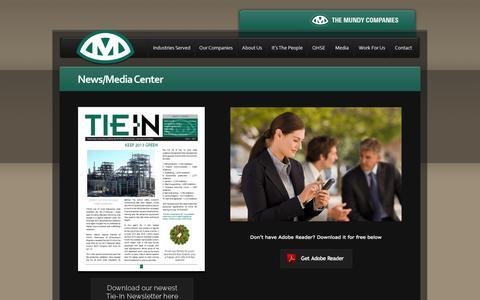 Screenshot of Press Page mundycos.com - The Mundy Companies - News/Media Center - captured Oct. 6, 2014