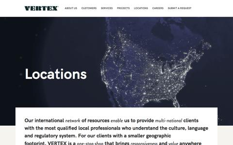 Screenshot of Locations Page vertexeng.com - The Vertex Companies, Inc  |  Locations - captured Dec. 24, 2016
