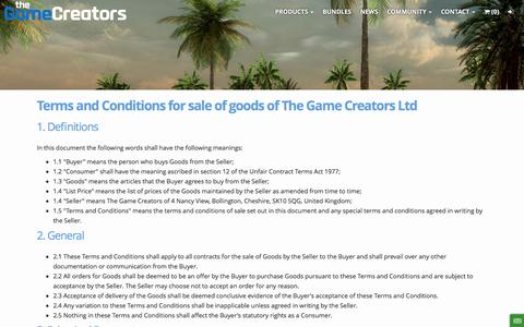 Screenshot of Terms Page thegamecreators.com - Sale Terms and Conditions - TheGameCreators - captured July 3, 2016