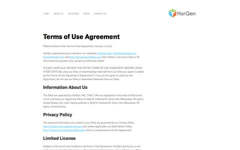 Screenshot of Terms Page harqen.com - HarQen Use Policy - captured Oct. 31, 2014