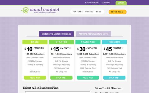 Screenshot of Pricing Page emailcontact.com - For Email Marketing Service Visit Email Contact Today - captured Sept. 19, 2014