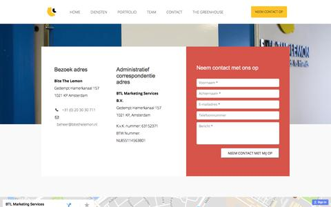 Screenshot of Contact Page bitethelemon.nl - BTL Marketing - Contact - captured Oct. 10, 2017