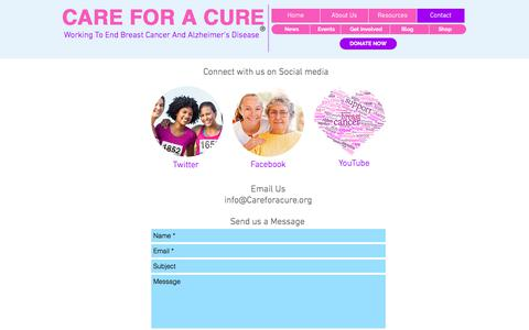 Screenshot of Contact Page careforacure.org - Care for a Cure contact us - captured July 9, 2018