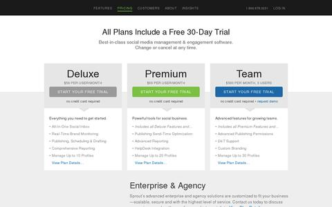Screenshot of Pricing Page sproutsocial.com - Social Media Management Plans & Pricing | Sprout Social - captured July 20, 2014