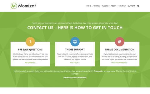 Screenshot of Contact Page momizat.com - Contact - Momizat - captured Sept. 22, 2016