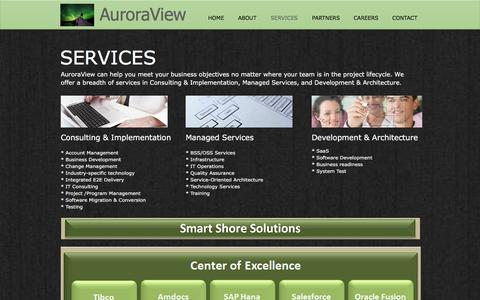 Screenshot of Services Page auroraview.com - AuroraView | IT Consulting Services | Washington | SERVICES - captured Dec. 28, 2016