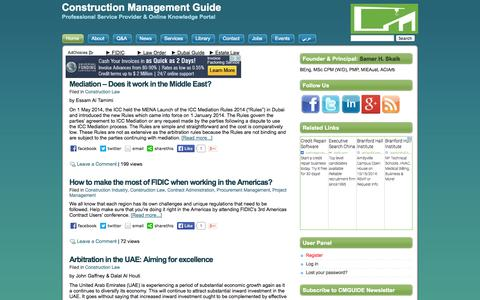 Screenshot of Home Page cmguide.org - Construction Management Guide - captured Oct. 3, 2014