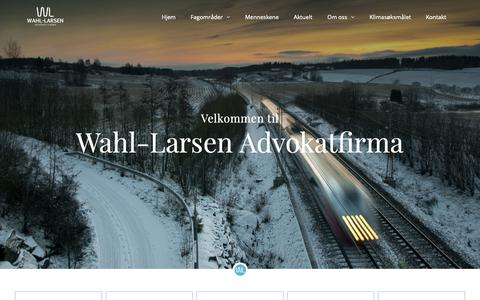 Screenshot of Home Page wla.no - Wahl-Larsen Advokatfirma - Eiendomsrett, enterprise og personvern i Oslo - captured Oct. 5, 2018