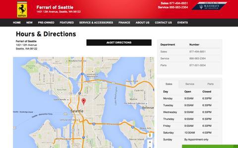 Screenshot of Hours Page ferrariofseattle.com - Ferrari of Seattle Hours & Directions - Seattle Ferrari dealer in Seattle WA - New and Used Ferrari dealership Bellevue Redmond Renton WA - captured Feb. 9, 2016