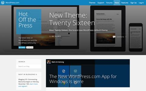 Screenshot of Blog wordpress.com - WordPress.com News - captured Dec. 10, 2015