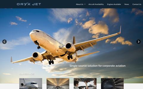 Screenshot of Home Page oryxjet.com - Oryx Jet - captured Feb. 28, 2016