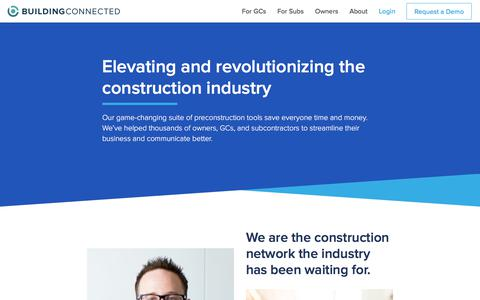 Screenshot of About Page buildingconnected.com - About - BuildingConnected - captured Oct. 11, 2017