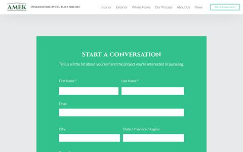 Screenshot of Contact Page amekinc.com - Start a conversation – AMEK Home Remodeling - captured Oct. 2, 2018