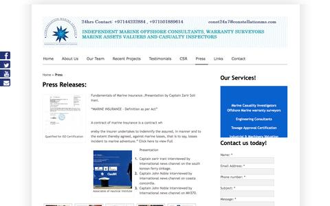 Screenshot of Press Page constellationms.com - Constellation Marine Services-Press Releases | - captured Oct. 2, 2014