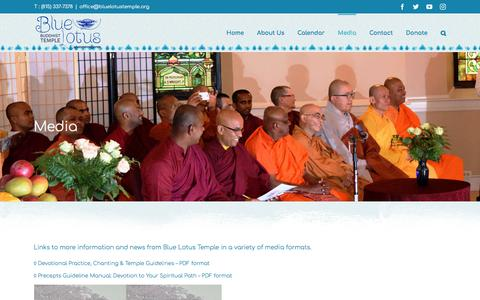 Screenshot of Press Page bluelotustemple.org - Media | Blue Lotus Buddhist Temple - captured April 25, 2018