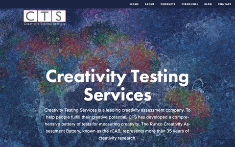Screenshot of Home Page creativitytestingservices.com - Creativity Testing Services - captured May 23, 2017