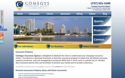 Screenshot of Products Page comegys.com - Insurance Products - Comegys Insurance Agency - St. Petersburg, Florida 33701 - captured Sept. 29, 2018