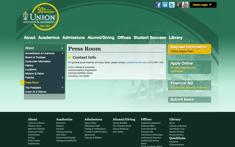 Screenshot of Press Page myunion.edu - Union Institute & University - captured Sept. 23, 2014