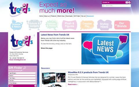 Screenshot of Press Page trendsuk.co.uk - Newsroom - Trends UK - Science & Educational Toys - captured Feb. 25, 2016