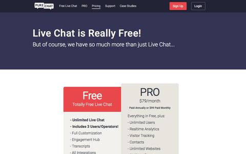 Screenshot of Pricing Page purechat.com - 100% Free Live Chat Solution for Businesses | Pure Chat - captured July 26, 2018