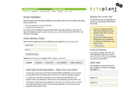Screenshot of Home Page email-validator.net - Free Email Validation|Email List Cleaning|Email Verification Online API|Email Check - captured Aug. 28, 2016