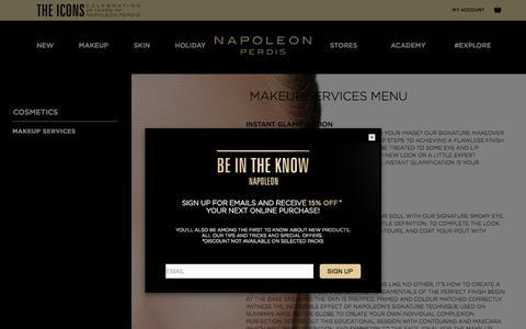Screenshot of Services Page napoleonperdis.com - Makeup Services - captured Oct. 23, 2017