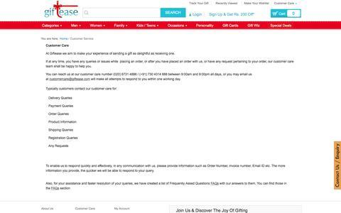 Screenshot of Support Page giftease.com - Customer Service - captured Jan. 28, 2016