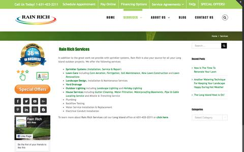 Screenshot of Services Page rainrich.com - Affordable Sprinkler, Landscape & Holiday Lighting Services - Rain Rich - captured Sept. 27, 2018