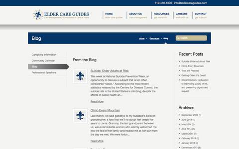 Screenshot of Blog eldercareguides.com - Blog   Elder Care Guides - captured Sept. 29, 2014