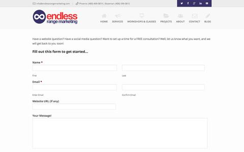 Screenshot of Contact Page endlessrangemarketing.com - Contact Endless Range Marketing - captured Sept. 19, 2014