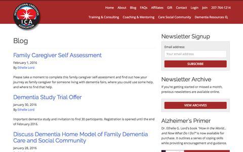 Screenshot of Blog internationalcaregiversassociation.com - The International Caregivers Association (ICA) Blog and Information - captured Oct. 31, 2017