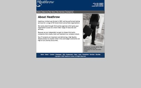 Screenshot of About Page heathrow.co.nz - About Us - captured Sept. 30, 2014