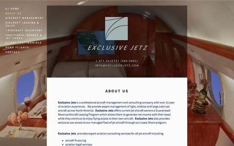 Screenshot of About Page exclusivejetz.com - About Us — Exclusive Jetz - captured July 16, 2016
