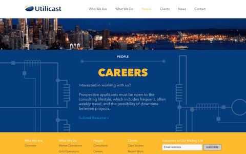 Screenshot of Jobs Page utilicast.com - Careers - Utilicast Energy and Utilities Consultants - captured Aug. 12, 2016