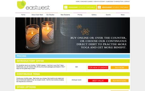 Screenshot of Pricing Page eastwest.co.nz - | Eastwest Yoga in Ausckland | Newmarket & Ponsonby - captured Oct. 22, 2014