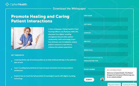 Screenshot of Landing Page cipherhealth.com - Promote Healing and Caring Patient Interactions Using Digital Rounding Devices - captured Jan. 1, 2020