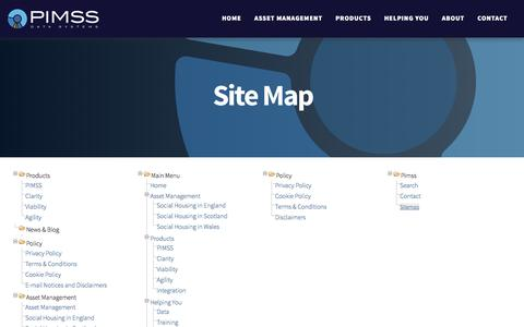 Screenshot of Site Map Page pimss.com - PIMSS Data Systems - Sitemap - captured Dec. 17, 2016