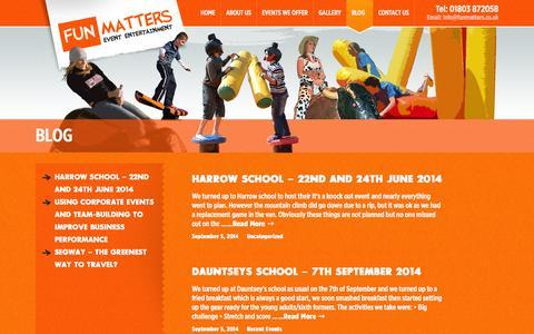 Screenshot of Blog funmatters.co.uk - Read Our Blog - Fun Matters - captured Sept. 30, 2014