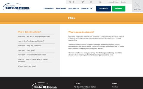 Screenshot of FAQ Page joetorre.org - FAQs - Safe At Home - captured Oct. 14, 2018