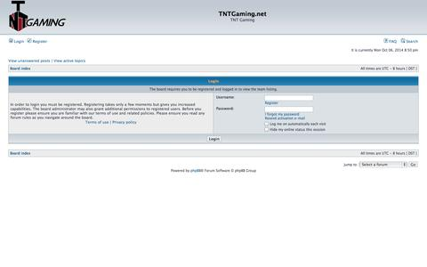 Screenshot of Team Page tntgaming.net - TNTGaming.net • Login - captured Oct. 7, 2014