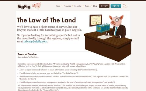 Screenshot of Terms Page sigfig.com - SigFig :: Terms of service - captured Sept. 17, 2014