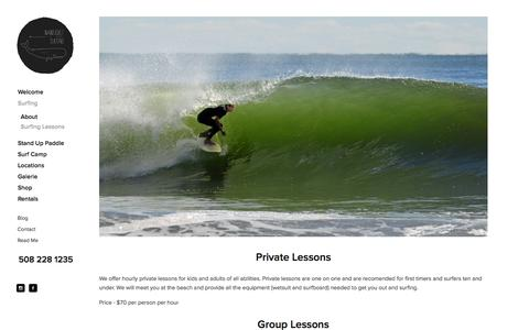 Screenshot of Menu Page nantucketsurfari.com - Surfing Lessons — Nantucket Surfari - captured Sept. 30, 2014