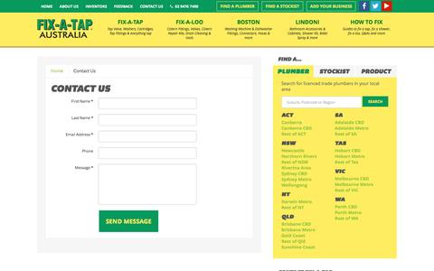 Screenshot of Contact Page fixatap.com.au - Contact Us - Fix A Tap - captured Feb. 8, 2016