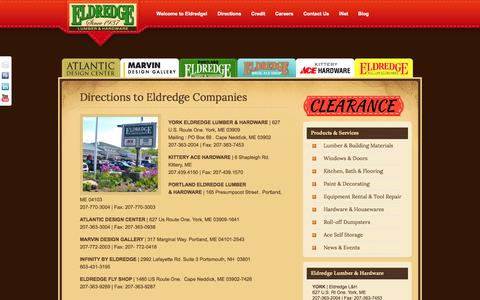 Screenshot of Maps & Directions Page eldredgelumber.com - Directions to Eldredge Companies | eldredge lumber - captured Oct. 2, 2014