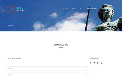 Screenshot of Contact Page globalpayout.com - Global Payout - captured Sept. 26, 2016