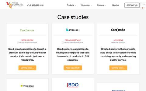 Screenshot of Case Studies Page virtocommerce.com - Case Studies - Virto commerce - captured Nov. 25, 2015