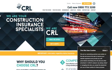 Screenshot of Home Page c-r-l.com - CRL | Structural Home Warranty Specialists - captured Sept. 22, 2018